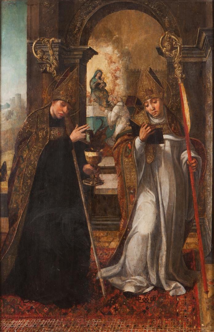 Источник: https://commons.wikimedia.org/wiki/Category:15th-century_paintings_of_Benedict_of_Nursia#/media/File:São_Bento_e_São_Bernardo_(1542)_-_Diogo_de_Contreiras.png