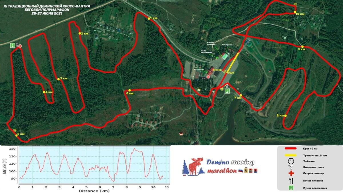 Фотография. Карта-схема дистанции круга на 10 и 21 км Дёминского бегового полумарафона 2021