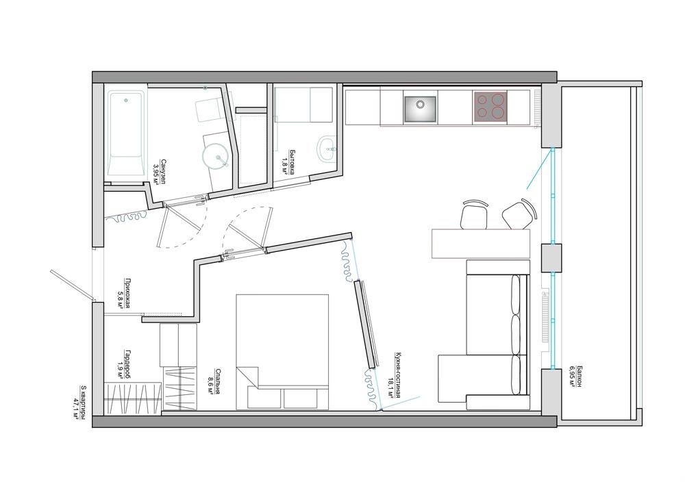 Интерьер квартиры 40 кв.