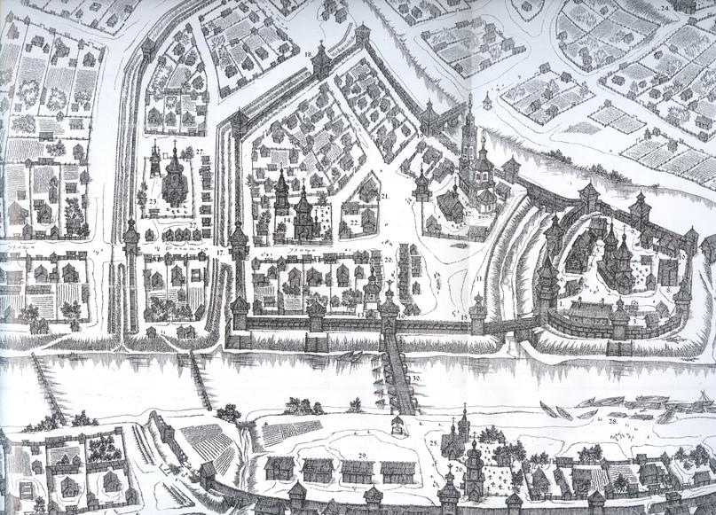 Реконструкция облика центра Орла начала 18 века (В. Неделин) — при каждом храме кладбища обозначены группами крестиков.
