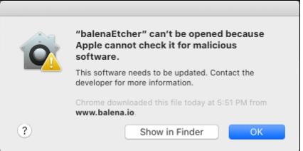 """Пример """"неприятного"""" сообщения при первом запуске Electron-приложения на Mac OS"""