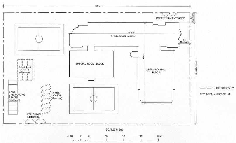 Рисунок 3. Схема планировки и размещения зданий для средней школы на 30 классов (Источник: Hong Kong Planning Standards And Guidelines)