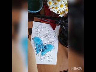 Бабочка и мак. Акварельный скетчинг. Венера Чернышова