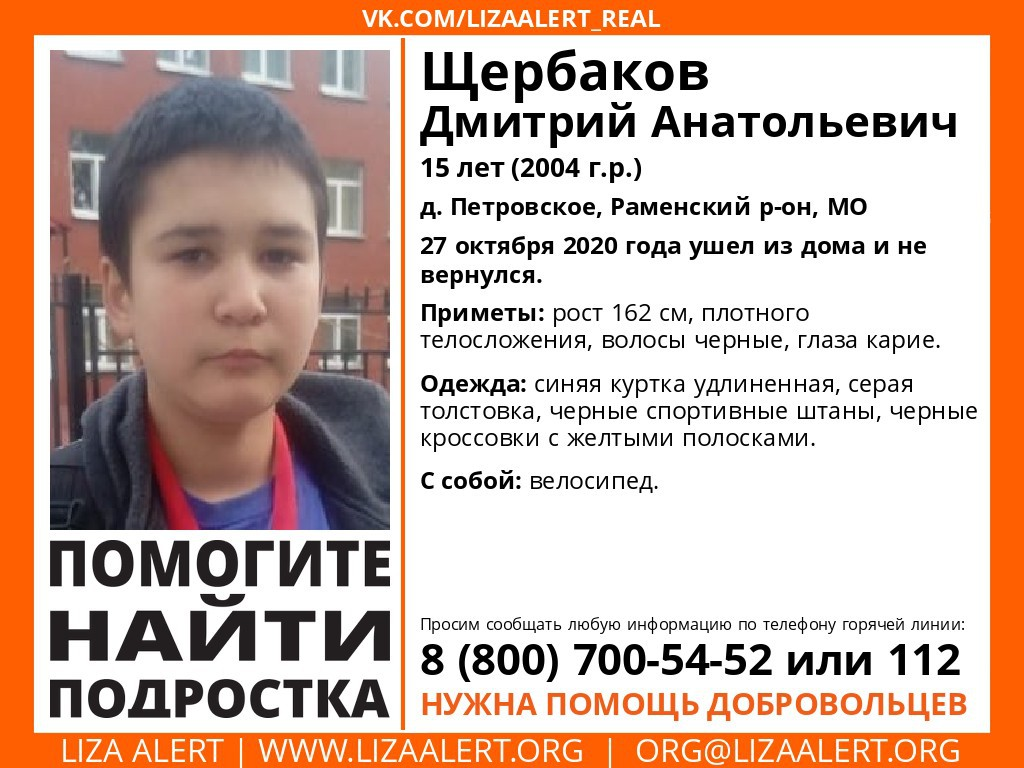 Внимание! Помогите найти подростка! Пропал #Щербаков Дмитрий Анатольевич, 15 лет, #МО, #Раменский, #Петровское