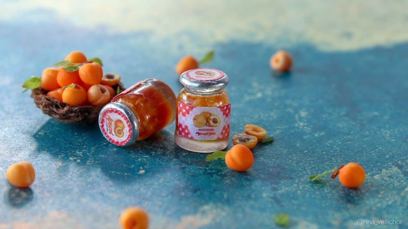 Miniature food tutorial mini jar of apricot jam 🍑 Polymer clay and UV resin tutorial