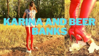 KARINA AND BEER BANKS _ PANTYHOSE _ NYLON _ HIGH HEELS _ CRUSH _ FETISH _ FEET _ RUSSIAN GIRL