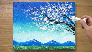 Painting a White Cherry Blossom Tree / Cotton Swabs Painting Technique #436
