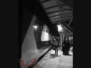 Прибытие поезда в стиле ретро