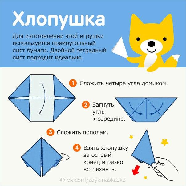 ХЛОПУШКА ИЗ БУМАГИ Игрушка-оригами. Мы в детстве часто их делали.