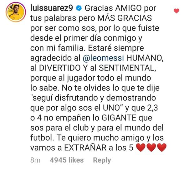 Dani Alves va Luis Suares ham Messining postiga izoh qoldirishdi
