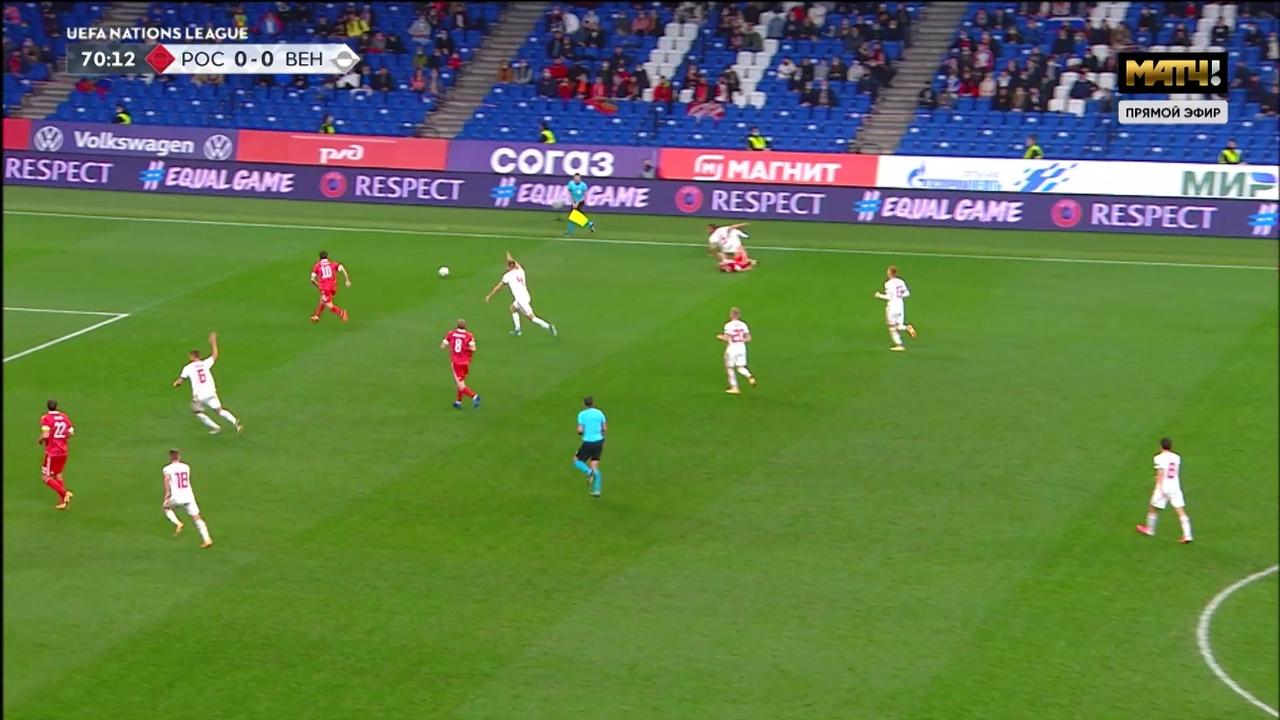 Россия - Венгрия, 0:0. Майкл Оливер прервал перспективную атаку сборной России свистком